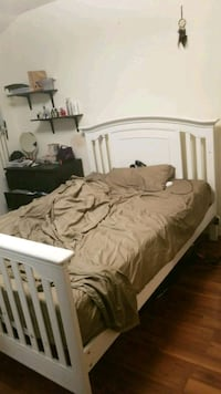 brown wooden bed frame with mattress Toronto, M6H 2H6