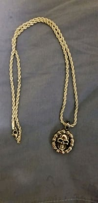 Brand new Silver stainless steel rope chain with skull pendant. Columbus, 43207