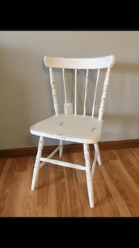 Old, wooden chair painted with White chalk paint and distressed to add some character to it. Perfect addition to an entry way or maybe a desk!  Blackstone, 01504