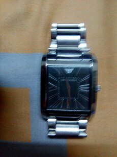 rectangular Emporio Armani analog watch with silve