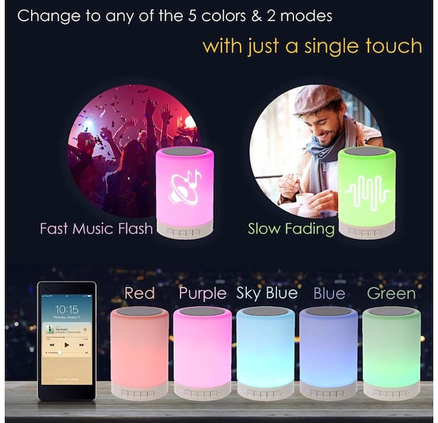 Night Light Bluetooth Speaker, Portable Wireless Bluetooth Speakers, Touch Control, Color LED Speaker, Bedside Table Light, Speakerphone/TF Card/AUX-in Supported (White), 7 cc54769d-0d31-454e-b336-e82f3598b38a