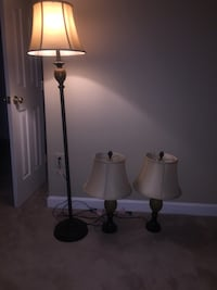 two black metal base white shade table lamps Centreville, 20121