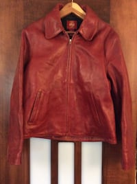 Red leather motorcycle jacket GRANDRAPIDS