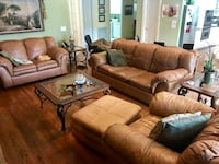 brown leather 3-seat sofa and loveseat Delray Beach, 33446