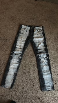 two black and white denim jeans