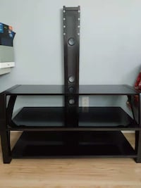 Black glass-top TV stand with mount 797 km