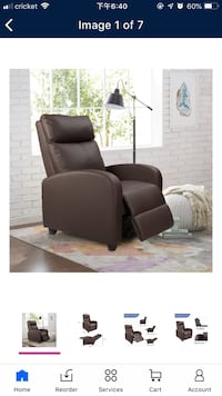 Home theater recliner brown sofa chair