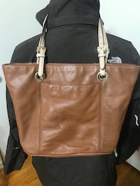 AUTHENTIC MICHAEL KORS BROWN LEATHER NICE SIZED TOTE Alabaster, 35007
