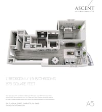 Ascent Uptown 875 sqft 1 BR, 1.5 Bath w Balcony