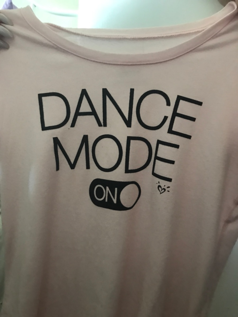 white and black Dance Mode On crew-neck shirt