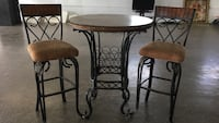 round brown wooden table with two chairs Rayne, 70578