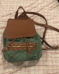 green and brown leather tote bag