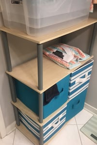 Storage shelf with Fabric bins