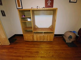 Wooden entertainment center with wheels free