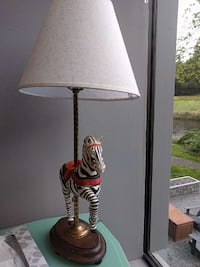brown wooden base zebra decor white lamp shade