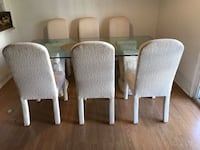 four brown wooden framed white padded chairs Phoenix, 85014