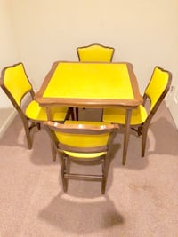 VINTAGE MID~CENTURY STAKMORE SQUARE WALNUT~TABLE SET WITH FOUR CHAIRS~FOLDING GAME/DINING TABLE Ashburn, 20147