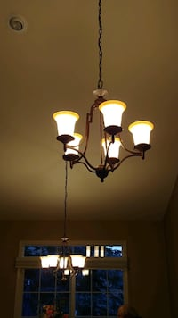 5-Light Chandelier (set of two) and matching single light fixture 397 mi
