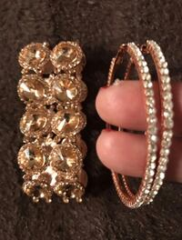 Bracelet and earrings set in rose gold color never used  Bloomfield Hills, 48304