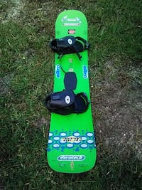 green and black snowboard with bindings Lehigh Acres, 33972