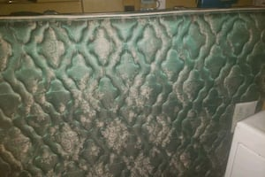 green and white floral mattress