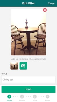 brown wooden pedestal table with two windsor chairs set screengrab Reston, 20190