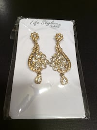 Pair of gold diamond embellished earrings
