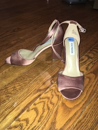 Women's pair of purple steve madden peep-toe ankle strap chunky heeled shoes