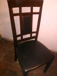 brown wooden framed black leather padded chair Edmonton, T5A 0S4