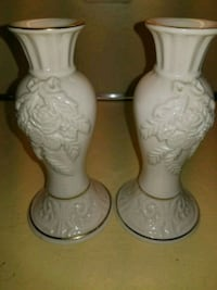 two white ceramic candle holders Queens, 11379