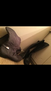 two pairs of gray suede and black leather round toe knee-high boots Virginia Beach, 23464