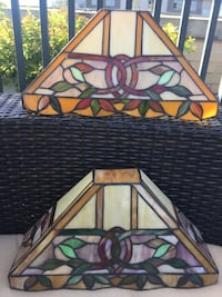 Two Handmade Stained Glass Wall Sconces Lights Bethesda