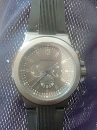 round silver michael kors chronograph watch with black rubber strap Berwyn Heights, 20740
