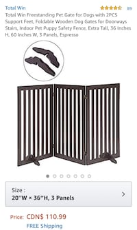 New, unused..Freestanding Pet Gate for Dogs with 2PCS Support Feet St Thomas, N5R 6M6