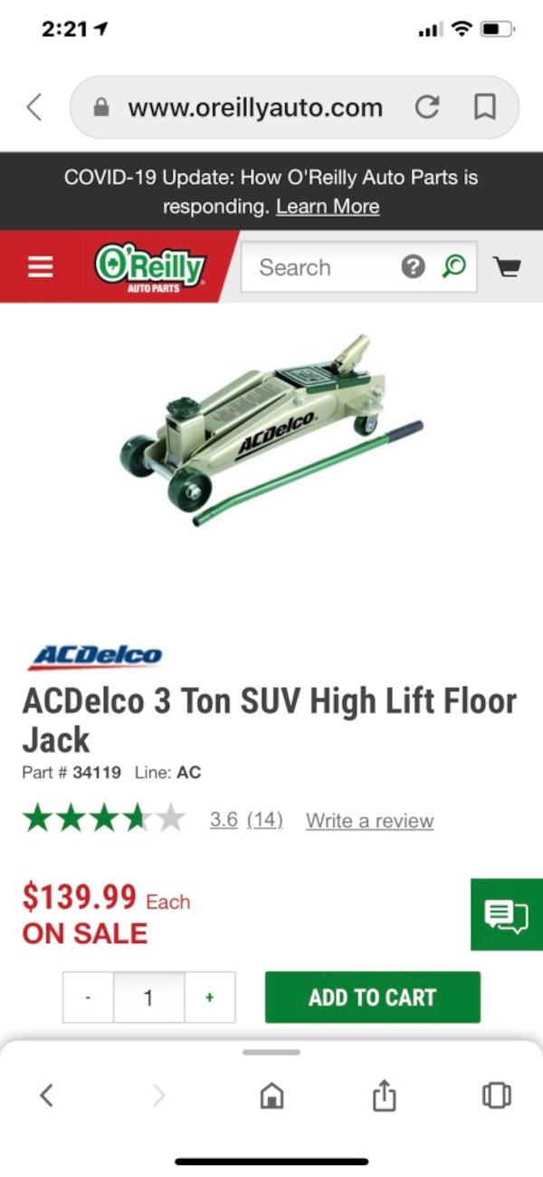 Used Ac Delco 3 Ton Floor Jack Never Used For Sale In Chalmette