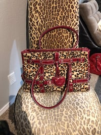 Leopard print furry purse 1468 mi