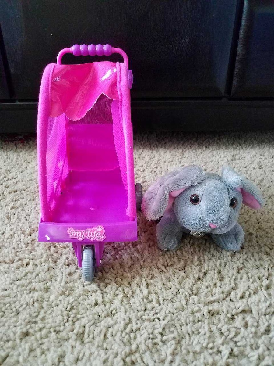 Doll animal stroller with bunny  - ID