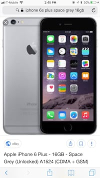 iPhone 6s Plus space gray 16gb T-Mobile small crack on top right hand Conner doesn't affect anything  Port Arthur, 77642