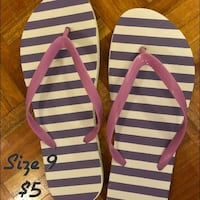 white and blue stripe flip-flops Mississauga, L4Y 4E2