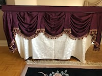 Custom made valence with rich burgundy fabric and fringes - Used Montréal, H4R 2Y2