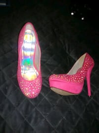 pair of pink and white platform stilettos Columbus, 39702