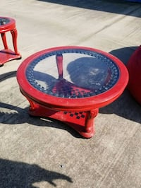 Red Coffee table & 2 Side Tables
