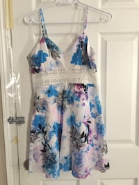 white, blue, and pink floral sleeveless dress