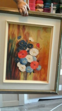 red and blue flower painting with white wooden frame Longueuil, J4J 3K8