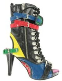 NEW WOMEN'S COLOURED PATENT MOTO BOOTS