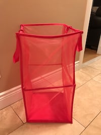 red mesh laundry hamper