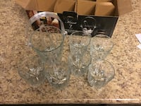 seven glass made drinking glasses