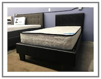 Twin Leatherette Platform Bed + Pocket Coil Mattress 2232 mi