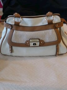 Ivory and brown ladies handbags almost like new
