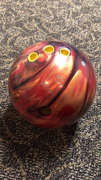 brown and red bowling ball